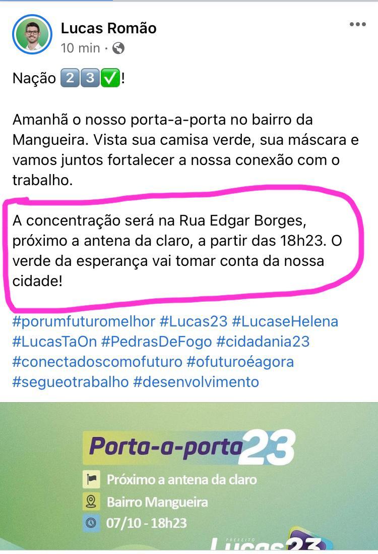 Em Pedras de Fogo, Lucas Romão desafia o TRE e convoca evento com concentração de eleitores